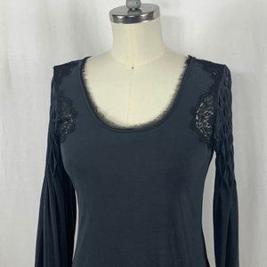 Free People Grey Jersey Smocked Dress with Lace